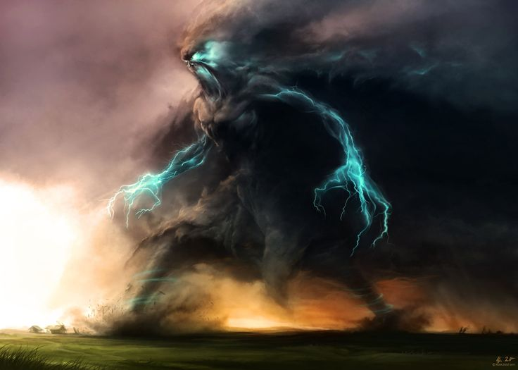 Storm monster. deep blues and highlights