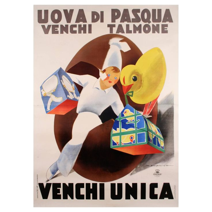 """Italian Venchi Chocolate """"Easter Egg"""" Poster by Dudovich, c. 1930s For Sale at 1stdibs"""