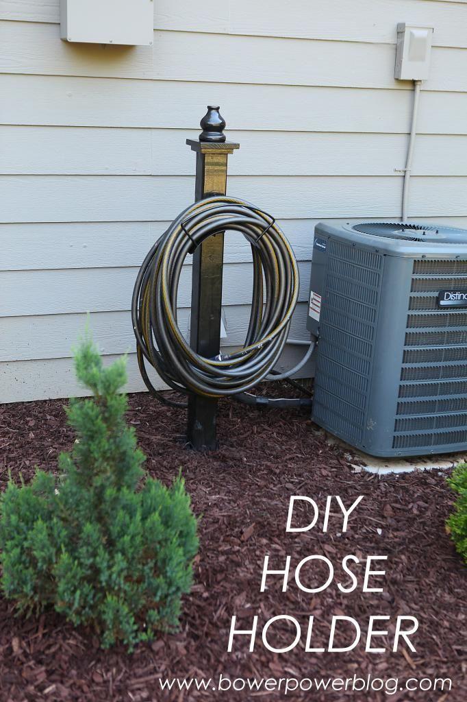 DIY garden hose holder. A clean and simple design for storing your garden hose.