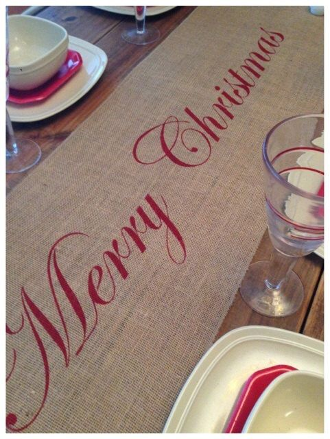 """Burlap Table Runner 16"""" or 18"""" wide Christmas runner Merry Christmas - Holiday decorating Home decor Christmas decor by CreativePlaces on Etsy https://www.etsy.com/listing/225579799/burlap-table-runner-16-or-18-wide"""