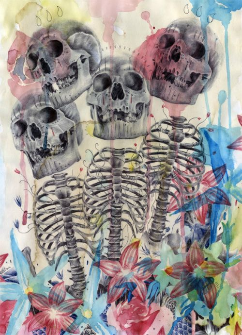 Drawing made with ballpoint pens and watercolours on coffee stained paper by Paul Alexander Thornton    http://www.facebook.com/PaulAlexThornton: Ballpoint Pen, Skulls Skeletons, Art Skulls, Art Drawings, Skull Art, Paul Alexander, Skulls Bones Bones Skulls, Watercolour