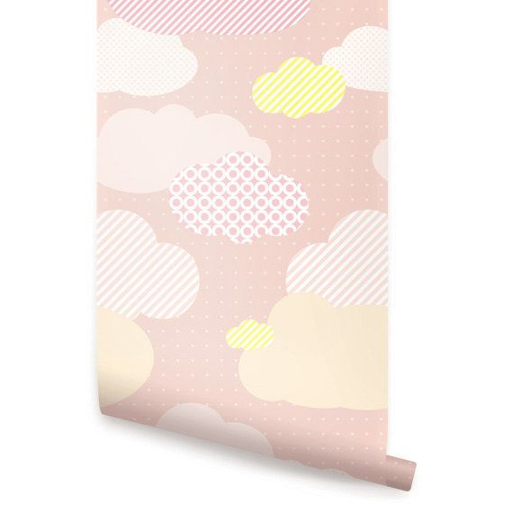 Clouds Pink Peel & Stick Fabric Wallpaper by AccentuWall on Etsy