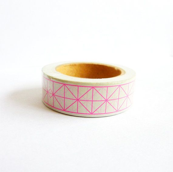 Washi Tape in Neon Pink and White. Geometric. Squares. Triangles. Shapes.15mm. Scrapbooking. Gift Packaging. Home Decor. on Etsy, $3.52 CAD