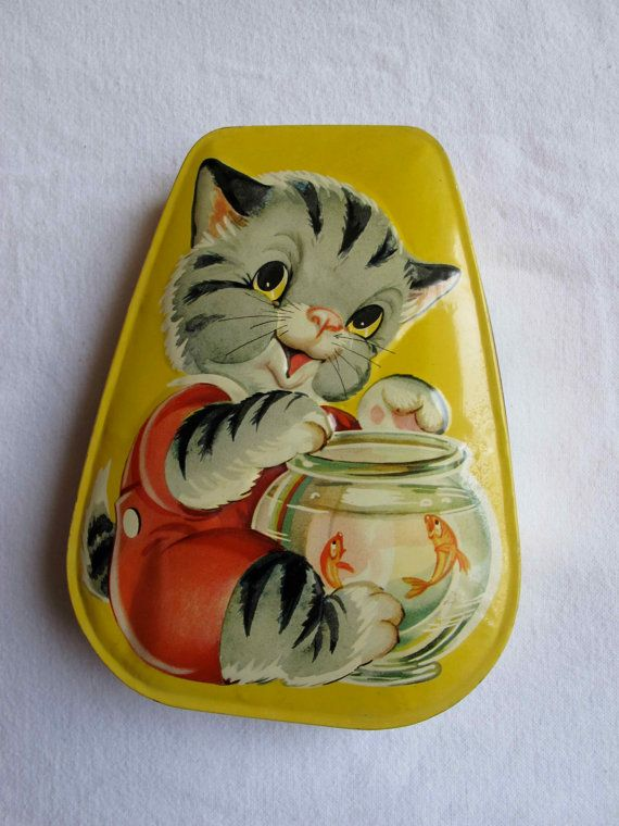 Horner Candy Tin Box with Kitty and Goldfish 1950s Vintage