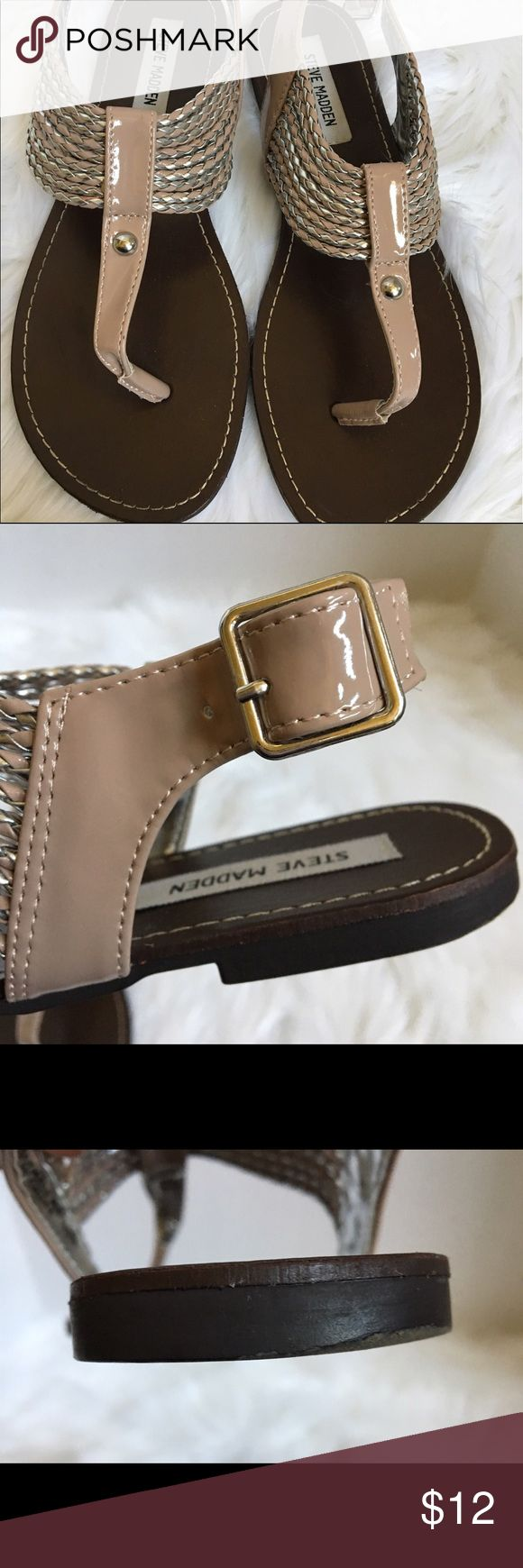 Steve Madden Sandal Cute patent leather Steve Madden sandal is beige and silver. Worn a few times. Only minor sign of wear is located on heel which is shown in pictures. Steve Madden Shoes Sandals