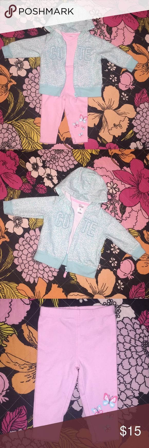3 piece Carter's matching set Turquoise floral zip up hoodie that says cute Pink pants with butterflies on bottom of one leg Pink and white striped short sleeve onesie No stains. Never worn only washed in tide free Carter's Matching Sets