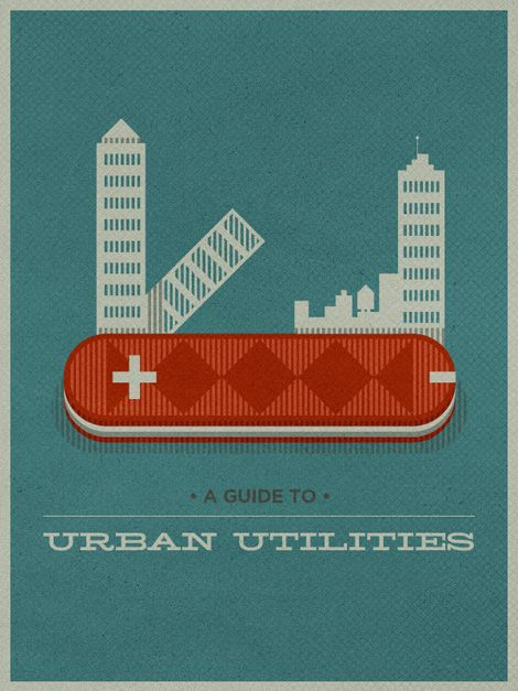 """Creative design for the guide to """"urban utilities"""". Playing off of the title to create a new version of a Swiss Army knife."""