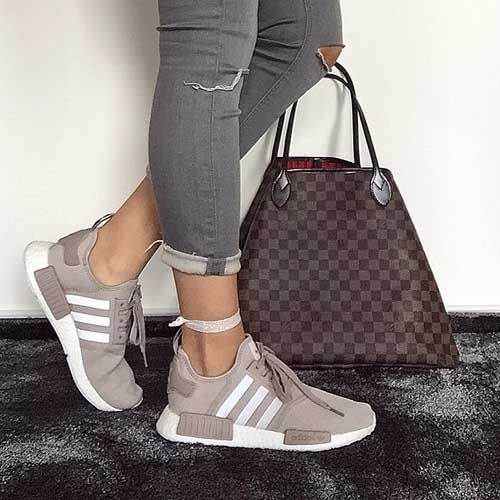 adidas-boost-with-louis-vuitton-bag- Classy and trendy sporty shoes http://www.justtrendygirls.com/classy-and-trendy-sporty-shoes/
