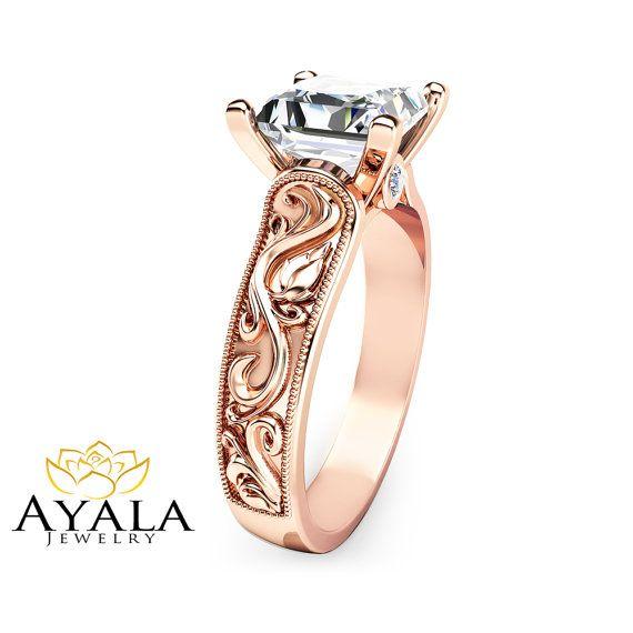 Princess Cut Diamond Engagement Ring in 14K Rose by AyalaDiamonds