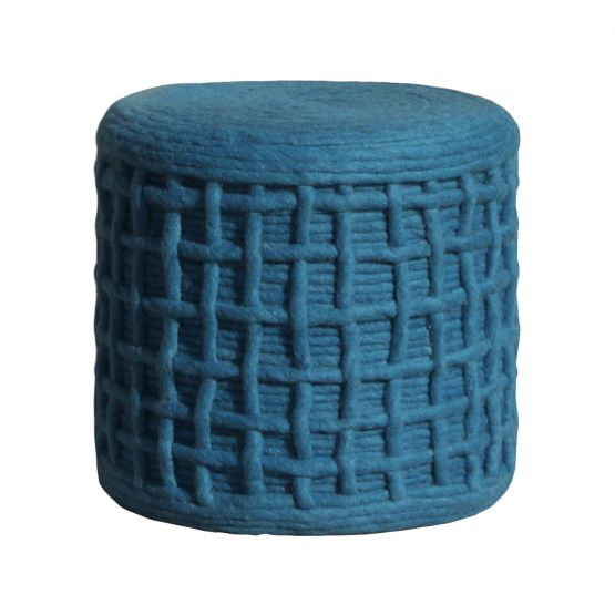 By-Boo poef wol gebreid, blauw By-Boo Collection Stoelen 119,00
