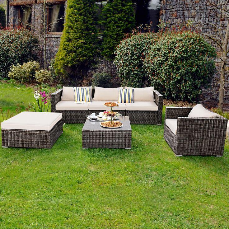 Goplus Hw57312 6pc Furniture Set Steel Patio Sofa Pe Gray Rattan