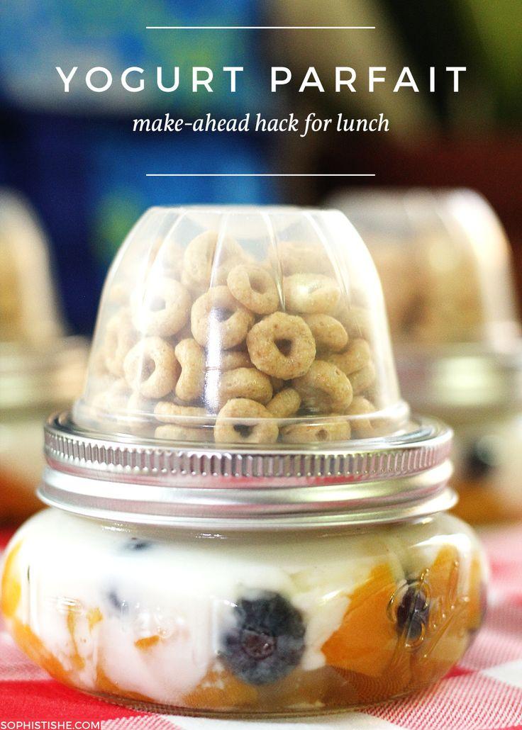 Make-Ahead Yogurt Parfait + Mason Jar Fruit Cup Hack