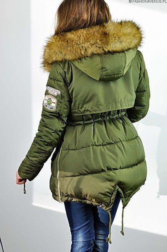 Kurtka damska zimowa parka naszywki jenot militarna asymetryczna khaki model #111 fashionavenue.pl