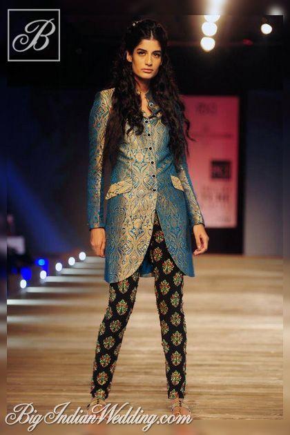 Monisha Jaising brocade jacket with printed leggings