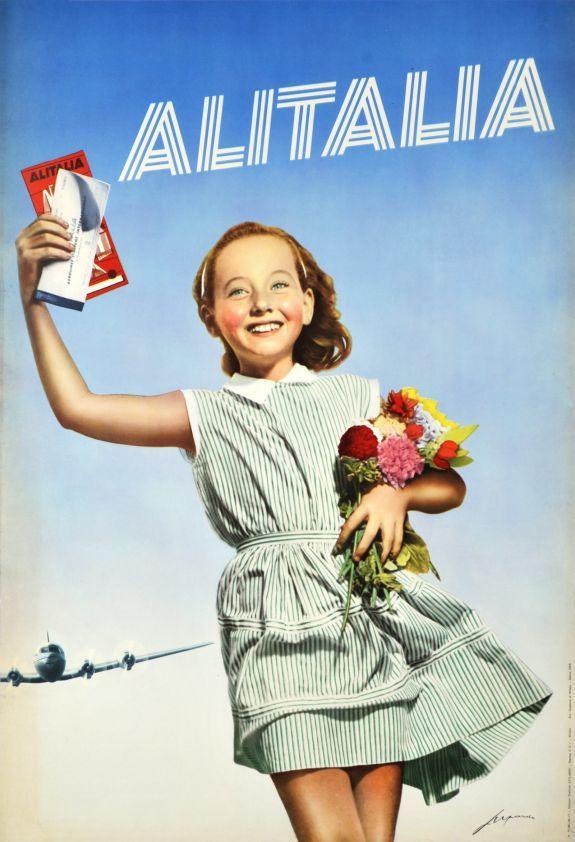 Vintage Italian Posters ~ #Italian #vintage #posters ~ Alitalia 1955