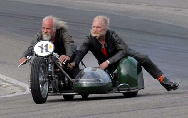 old guys on a super-low motorcycle with a sidecar... how?!