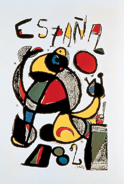 1982 Spanish World Cup poster designed by Miro #Spain #tourism #travel #poster