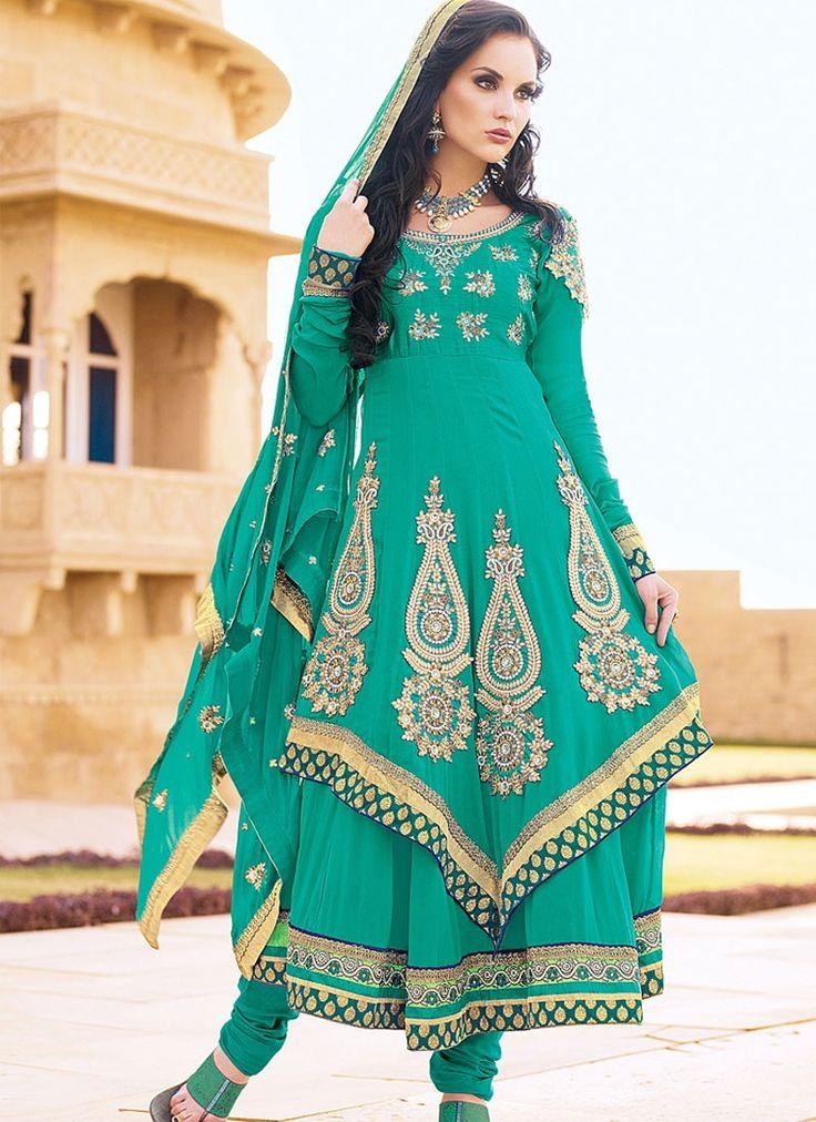 Gorgeous Zari Work Anarkali Salwar Suit