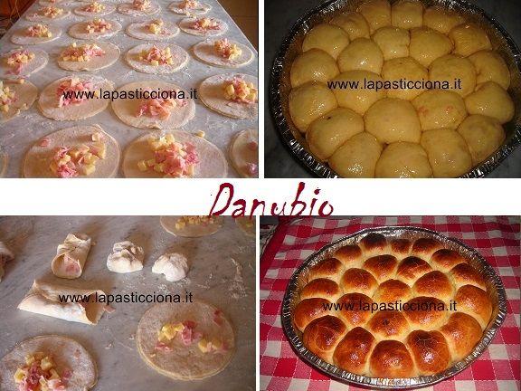 Danubio500g di farina 00, 1 cubetto di lievito di birra da 25 g , 4 uova ,100ml di latte tiepido, 1 cucchiaio colmo di zucchero semolato, 1 cucchiaio raso di sale, 4 cucchiai di caciocavallo grattugiato.  per il ripieno: 200 g di prosciutto cotto a dadini, 200 g di svizzero ( o fontina), tagliato a dadini. Preparazione: Setacciate la farina con 1 cucchiaio di sale; fate la fontana sulla spianatoia e aggiungete il lievito sciolto nel latte tiepido, lo zucchero, le uova e il caciocavall