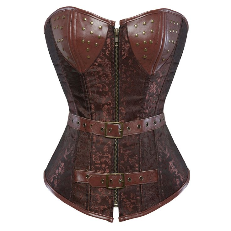 Steampunk Corset Brown Spiral Steel Boned Gothic Overbust Bustier Clubwear with Zipper and G-string S-6XL
