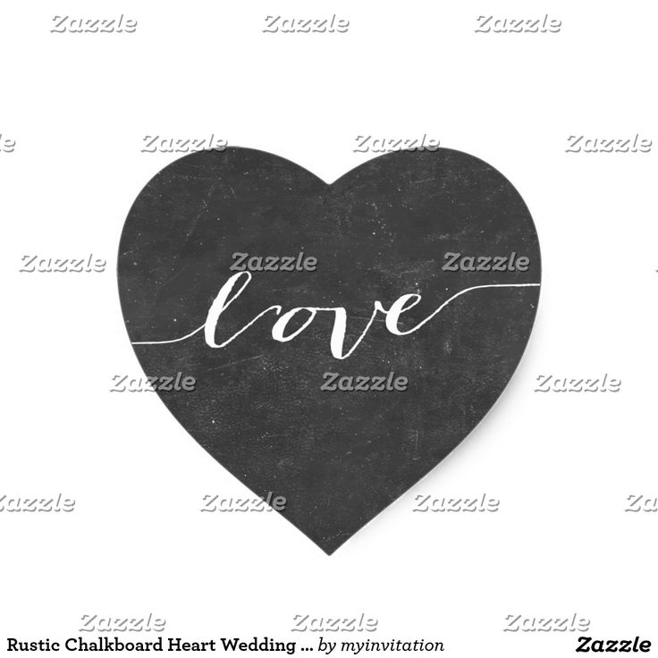 Rustic Chalkboard Heart Wedding Favor Stickers