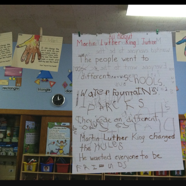 Martin Luther King Jr. Or Marther as my kids are calling him... And yes my kids wrote that! Genius!