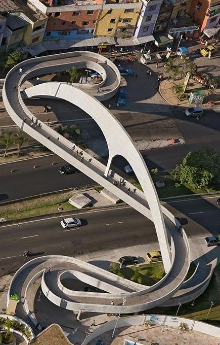 Pedestrian bridge, Rio de Janeiro, Brazil designed by Architect Oscar Niemeyer