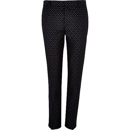 Black jacquard skinny smart pants