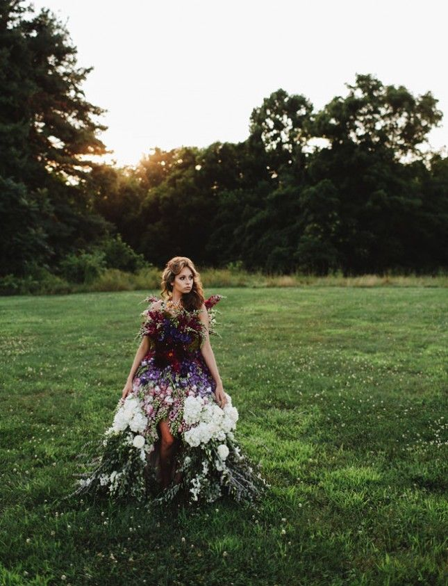 Step up your bridal game with a floral dress made out of flowers.