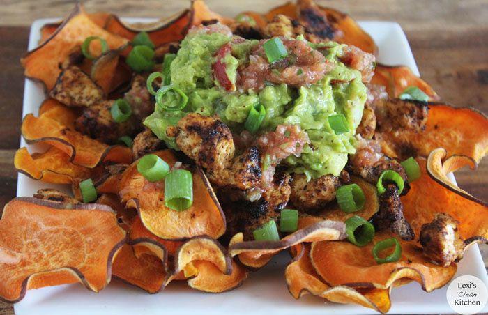 Loaded Paleo Nachos.  I wanna try this.  Making your own sweet potato chips.  I bet it's sooooo good!