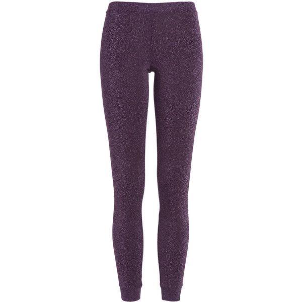 Missoni Leggings ($310) ❤ liked on Polyvore featuring pants, leggings, purple, purple pants, legging pants, purple leggings, sparkly pants and sparkly leggings