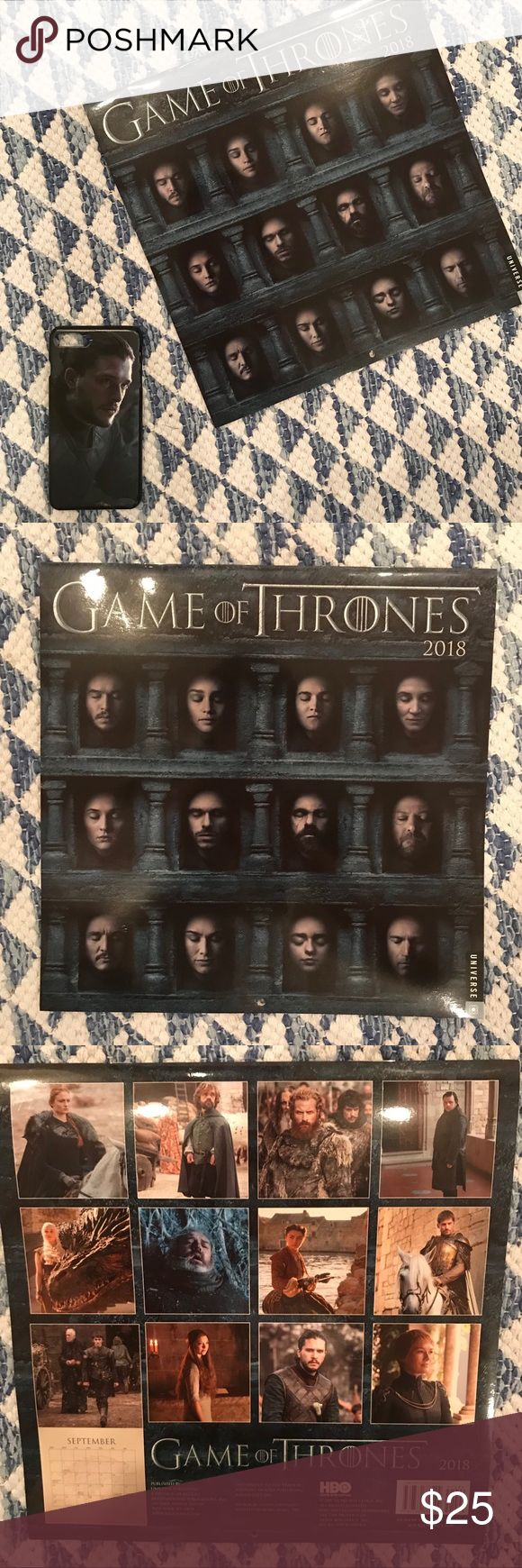 Game of Thrones Tech & Office Bundle NEW GOT 2018 Calendar & Jon Snow iPhone 7 Plus Tech Case  Calendar  - no marks, tears, or folds - Brand New out of plastic wrapping   Jon Snow Tech Case - fits iPhone 6, 7 and 8 Pluses  - plastic Tech Case - photo of Jon Snow from Season 7/last season HBO Accessories Phone Cases