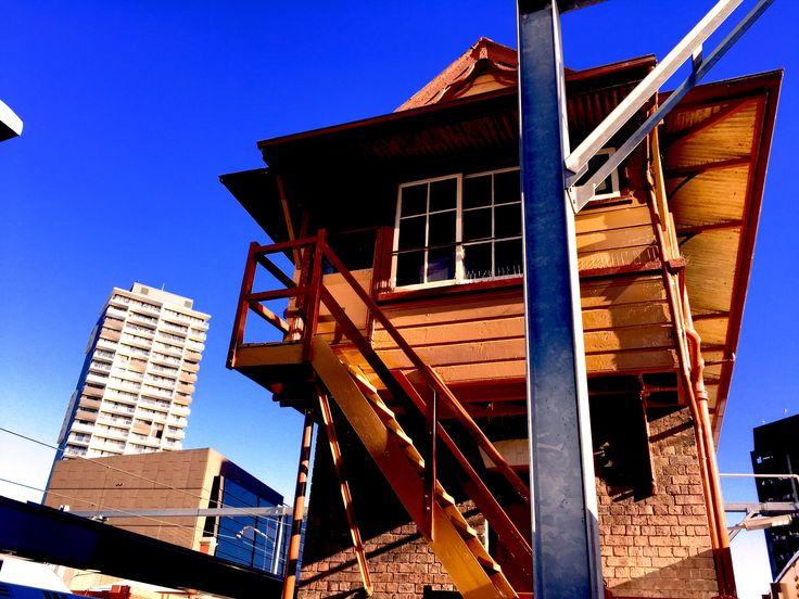 Morning light on buildings at Parramatta train station