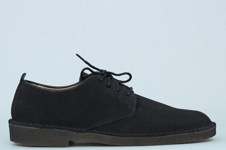 Clarks Originals Desert London Black Suede  Based on the Clarks Originals iconic Desert Boot construction yet sit just below the ankle with simple, clean lines.   • Modern twist on the classic Derby • Designed in premium black suede • Signature crepe sole