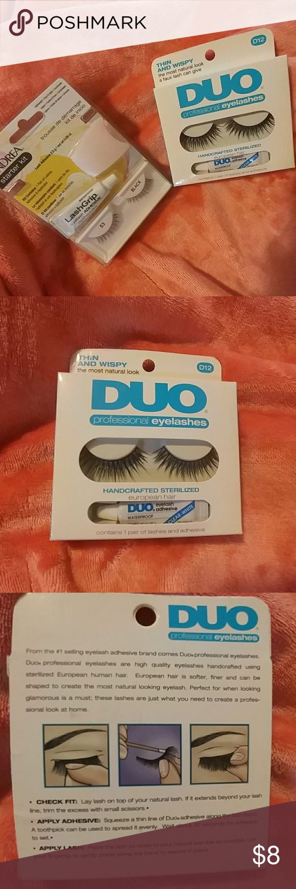 Lashes 👀 Lash adhesive starter kits. These were gifted to me by my step mom, but they're not really my thing. Brand new, never opened, just a bit dusty from their time in the recesses of my make-up drawer. 😅 Duo & Andrea Makeup False Eyelashes