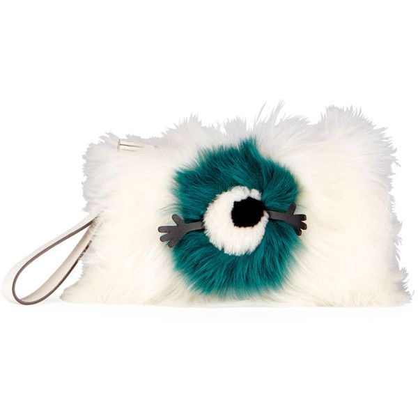 Anya Hindmarch Furry Eye Shearling Fur Clutch Bag (€740) ❤ liked on Polyvore featuring bags, handbags, clutches, fur clutches, fur purse, shearling purse, anya hindmarch handbags and shearling handbags