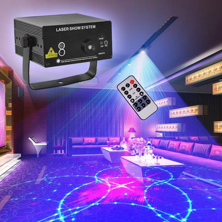 Mini 24 Pattern Red Green Laser Blue LED Stage Lighting IR Remote Home Party Pro…