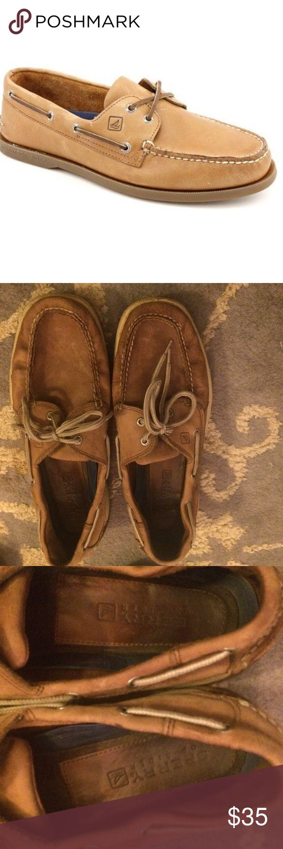 men's Sperry brown leather boat shoes Brown suede sperrys, slightly worn. Good condition. Very versatile Sperry Top-Sider Shoes Boat Shoes