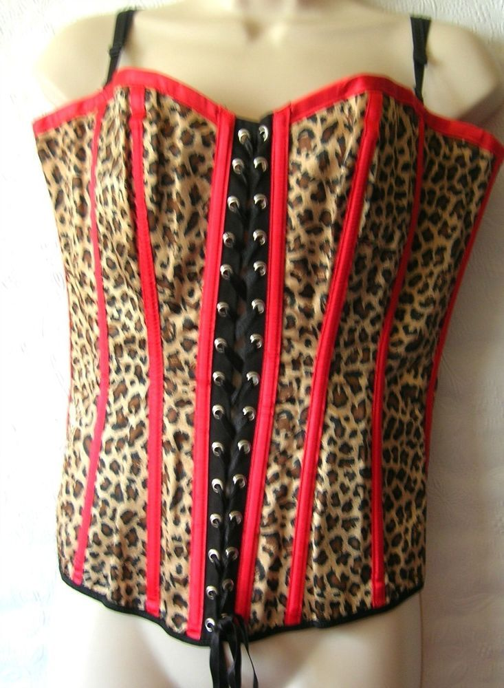 Reversible Bustier  Cheetah Print on one side  Red with Black Lace on the other  #Unbranded #LaceUpwithHookEyes