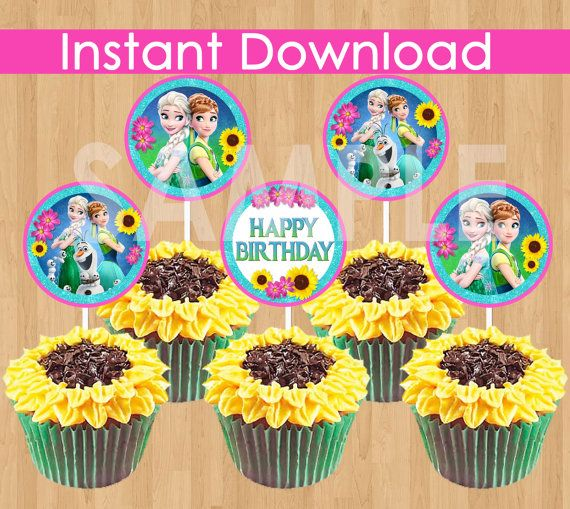 Frozen Fever Cupcake Toppers INSTANT by KidsPartyPrintables