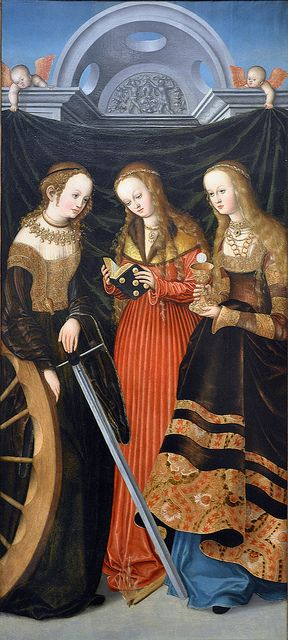 Lucas Cranach the Elder German (Wittenberg), 1472-1553 Oil on wood panel c. 1518 How did 16th century viewers of this panel know which of these saints was which?