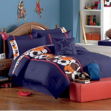 12pc Boy Sports Basketball Baseball Soccer Football Full Comforter Set Room In A Bag