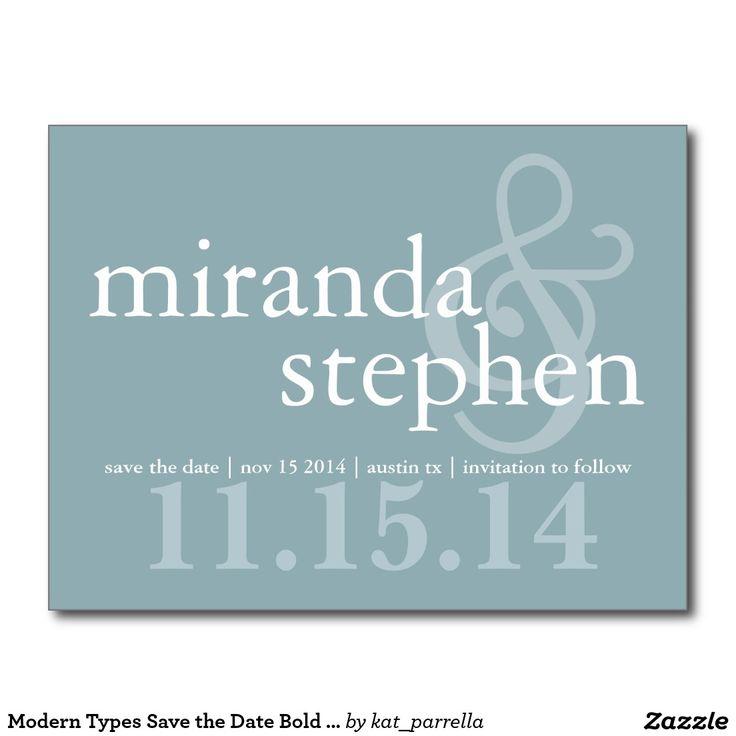 Modern Types Save the Date Bold Wedding Postcard