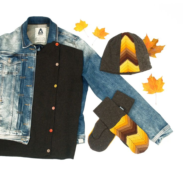 Fashion flat lay: jean jacket & brown wool sweater pair up nicely with upcycled sweater mitts and hat by Jennifer Fukushima.