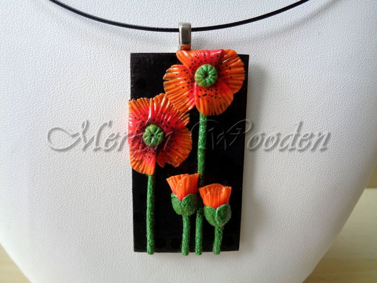 Necklace and pendant flower poppy by MerlynWooden on Etsy