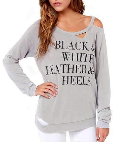 Street Fashion Letter Print Ripped T-shirt