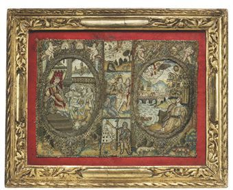 A CHARLES II NEEDLEWORK BOOK BINDING   now framed CIRCA 1660 Depicting Moses receiving the Word of God from a cloud, in silks and metal thread, the spine embroidered with scenes from the life of St. Sebastian pierced with arrows 7 x 9 in.