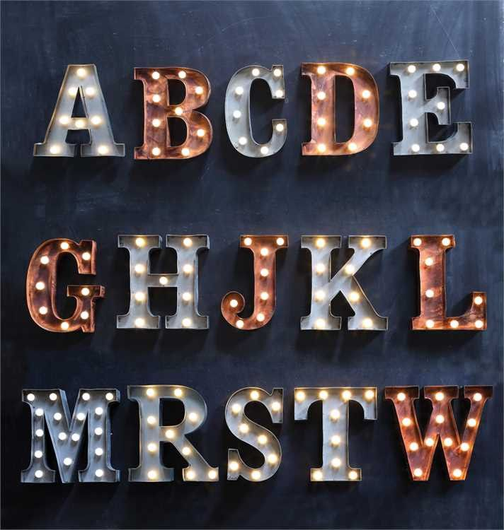 DETAILS Add this unique LED letter lamp to your home's decor. This lamp will lend a glamorous touch to any space. 15 styles and 2 colors make this LED letter