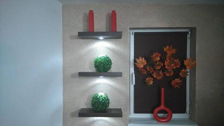 Półka z lampką LED naturalny fornir ECO 60x18x4 cm