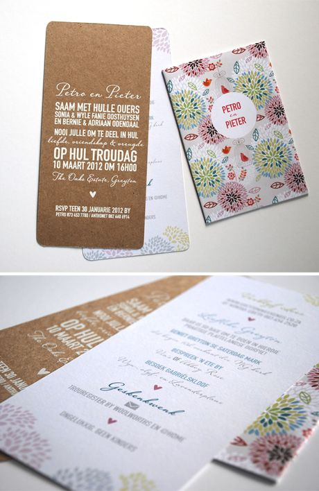 Petro & Pieter's cheerful invitations - White on Kraft <3 - Seven Swans Wedding Stationery